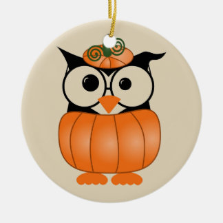 Happy Halloween Owl Ceramic Ornament