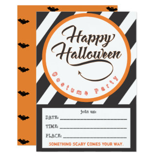 Happy Halloween Part Invite - Bats Theme