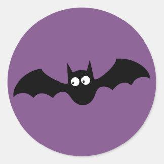 Happy Halloween Party Purple and Black Bat Sticker
