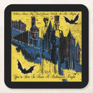 Happy Halloween Party With Costume Skeletons Square Paper Coaster