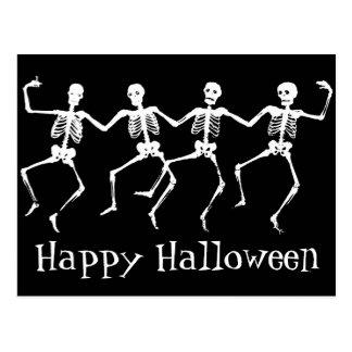 Happy Halloween Postcard with Dancing Skeletons