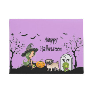 Happy Halloween Pug And Cute Witch Doormat