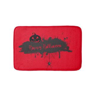 Happy Halloween pumpkin and spider grunge style Bath Mat