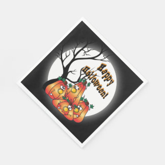 Happy Halloween Pumpkin Bunch Paper Napkin