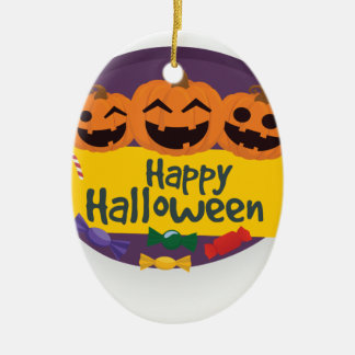 Happy Halloween Pumpkin Ceramic Ornament