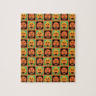 Happy Halloween pumpkin faces Jigsaw Puzzle