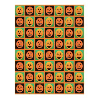 Happy Halloween pumpkin faces Letterhead Template