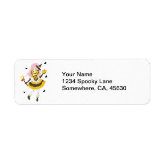 Happy Halloween Pumpkin Girl Return Address Label