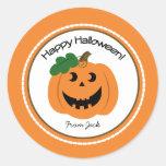 Happy Halloween Pumpkin Jackolantern Favour Round Stickers