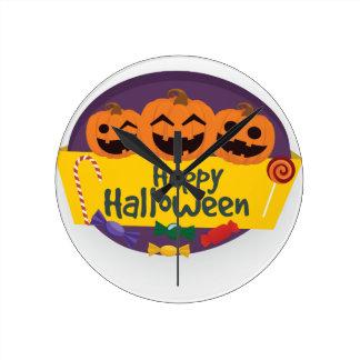 Happy Halloween Pumpkin Round Clock