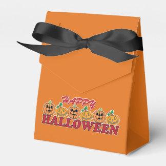 Happy Halloween Pumpkin Row on Orange Favor Box