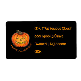 Happy Halloween Pumpkin Shipping Label