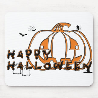 Happy Halloween Pumpkin Spider Gravestone and Bats Mouse Pad