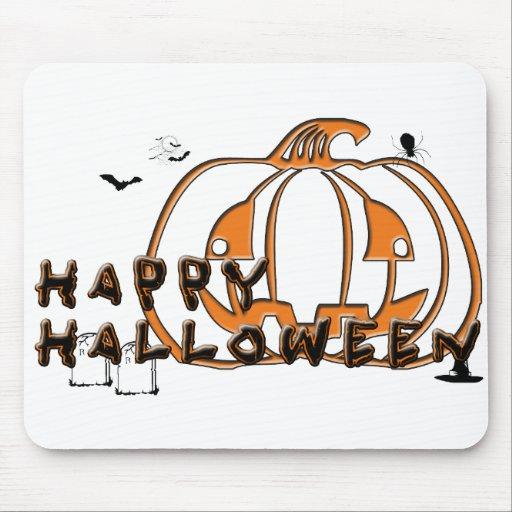 Happy Halloween Pumpkin Spider Gravestone and Bats Mousepad