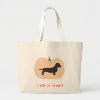 Happy Halloween Pumpkin Wire Hair Dachshund Large Tote Bag