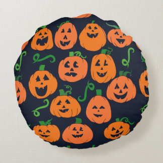 Happy Halloween Pumpkins Jack-o-lantern pattern Round Pillow