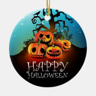 Happy Halloween! Pumpkins to under to creepy tree! Round Ceramic Ornament