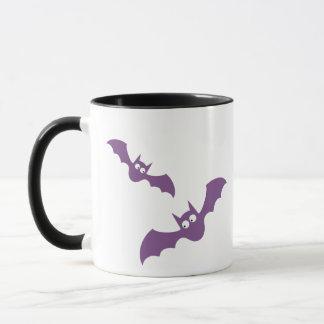 Happy Halloween Purple and Black Bats Coffee Mug