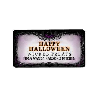 Happy Halloween Purple & Black Custom Treats Label
