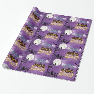 Happy Halloween Purple Spooky Sky Wrapping Paper