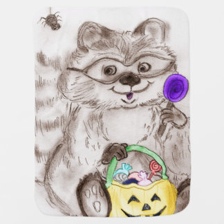 Happy Halloween Raccoon Baby Blanket