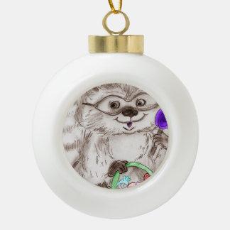 Happy Halloween Raccoon Ceramic Ball Christmas Ornament