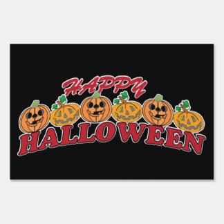 Happy Halloween Row of Pumpkins Sign