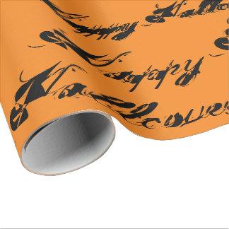 Happy Halloween rustic ink cursive script Wrapping Paper