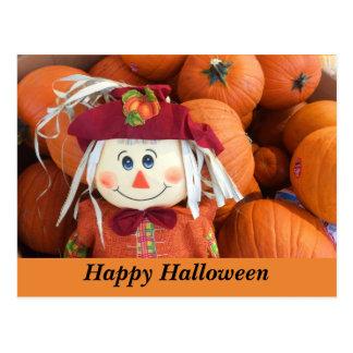 Happy Halloween Scarecrow & Pumpkins Postcard