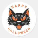 Happy Halloween Scary Black Cat Face Round Sticker