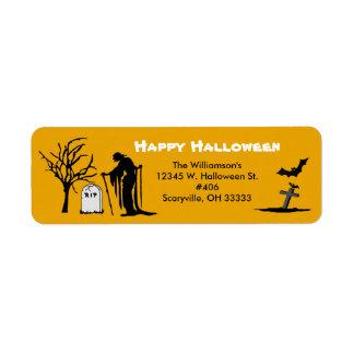 Happy Halloween Scary Cemetery Ghost Bat Tombston Return Address Label