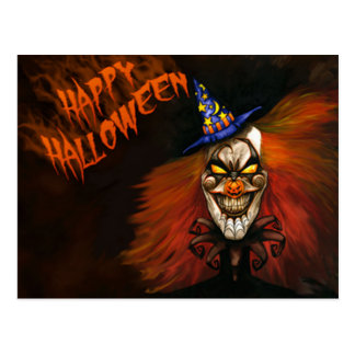 Happy Halloween Scary Clown Postcard