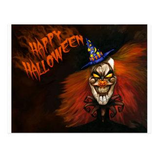 Happy Halloween Scary Clown Postcard