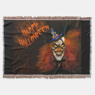 Happy Halloween Scary Clown Throw