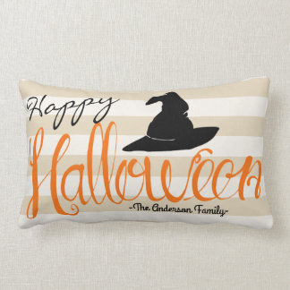 Happy Halloween Script Witch Hat & Bats Lumbar Pillow