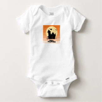 """Happy Halloween"" Short-Sleeved Gerber Vest Baby Onesie"