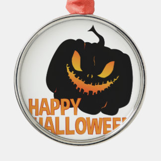 Happy Halloween Silver-Colored Round Ornament
