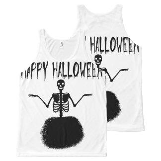 Happy Halloween Skeleton Ballet Dancer in Black All-Over-Print Tank Top