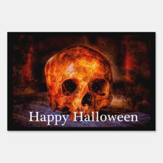 Happy Halloween Skull Art Yard Sign