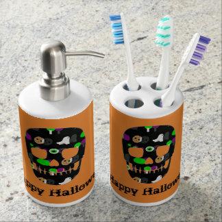 Happy Halloween Skull Bathroom Set