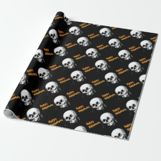 Happy Halloween Skull Optical Illusion Wrapping Paper