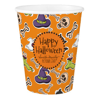 Happy Halloween. Skulls Ghosts Witches and Cats. Paper Cup