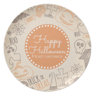 Happy Halloween Skulls Spider Web and Candy Party Plates