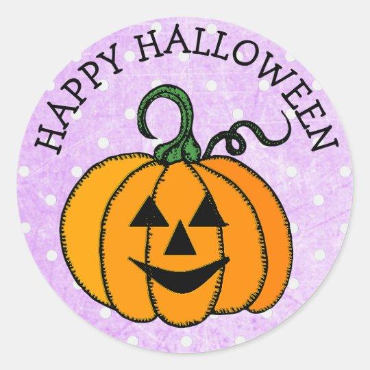Happy Halloween Smiley Pumpkin Face Stickers