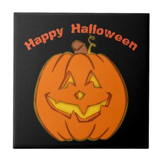 Happy Halloween Smiling Pumpkin Tile