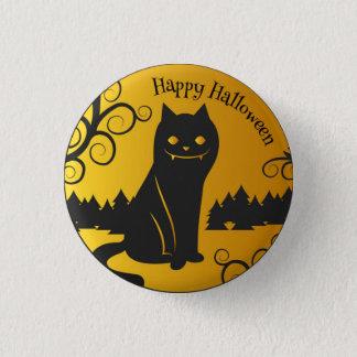 Happy Halloween Spooky Black Cat | Pin Button