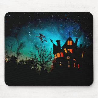 Happy Halloween Spooky Flying Witch Mousepad