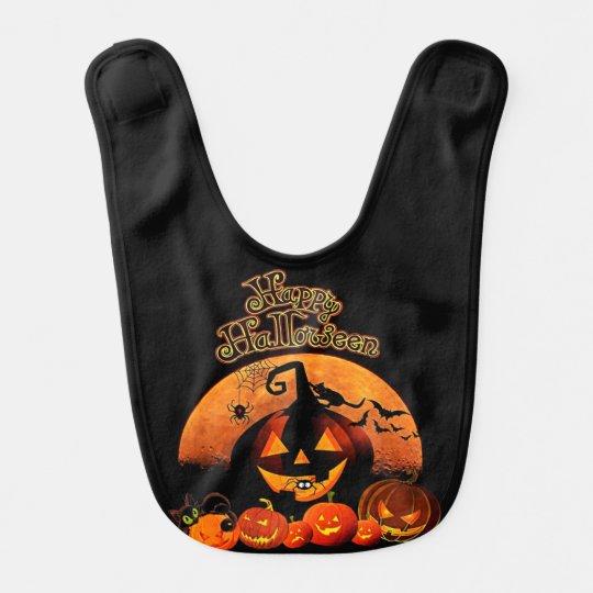 Happy Halloween Spooky Jack-o-lantern Bibs