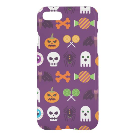 Happy Halloween Spooky Purple Cute Ghosts Pattern iPhone 8/7 Case