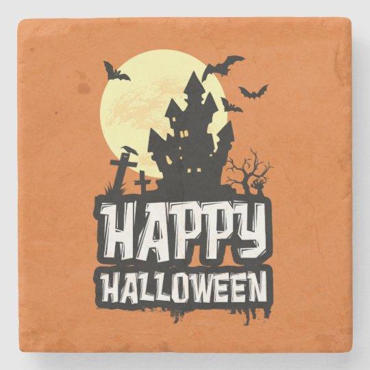 Happy Halloween Stone Beverage Coaster